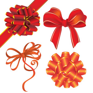 Ribbon Bows. Vector.