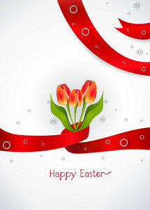 Ribbon With Tulips Vector Illustration