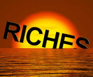 Riches Word Sinking Showing Difficulty Getting Rich