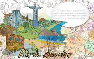 Rio De Janeiro Doodles With Floral Vector Illustration