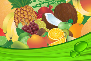 Ripe Fruit Juice Vector Background.