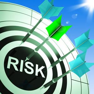 Risk On Dartboard Showing Dangerous
