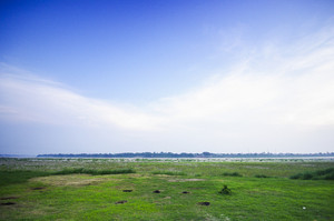 River Green grass and blue sky landscape in Lao