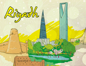 Riyadh Doodles Vector Illustration