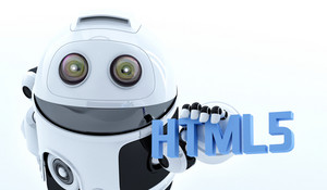 Robot Android Holding Html5 Sign