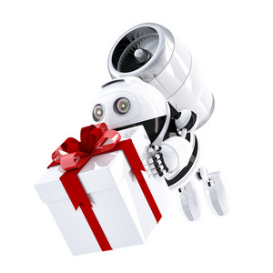 Robot Delivering Gift Box. Express Delivery Concept
