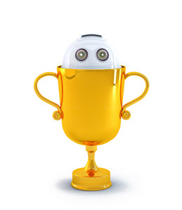 Robot Inside The Trophy. Technology Concept