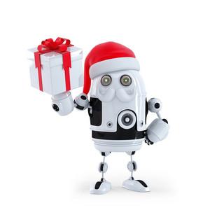 Robot Santa Holding A Present Box