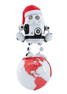Robot Santa On Top Of The Globe. Technology Concept.