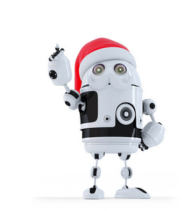 Robot Santa Pointing Up