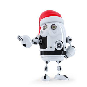 Robot Santa Showing Invisible Object