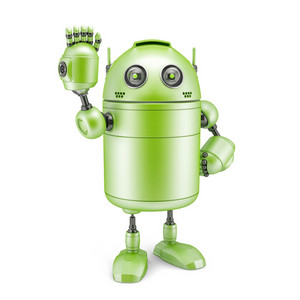Robot Sign Hello. Technology Concept