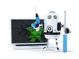 Robot With Tools And Broken Laptop