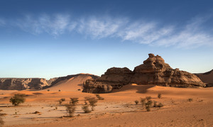 Rock formations and sparse vegetation in a sandy desert