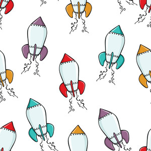 Rocket Ship Seamless Background