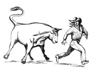 Rodeo Bull Chasing Cowboy
