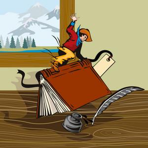 Rodeo Cowboy Riding Book Retro
