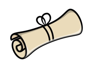 Rolled Scroll Parchment Message - Vector Cartoon Illustration