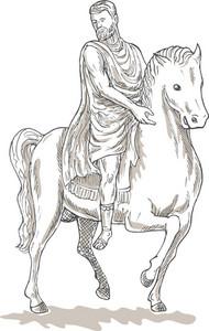 Roman Emperor Soldier Riding Horse