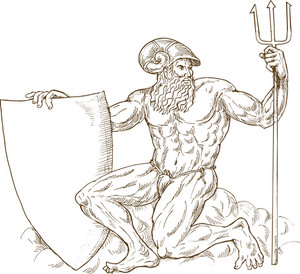 Roman God Neptune Or Poseidon With Trident And Shield