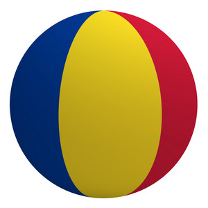 Romania Flag On The Ball Isolated On White.