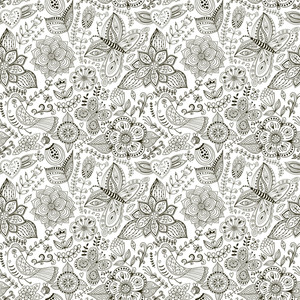 Romantic Doodle Floral Texture. Copy That Square To The Side And You'll Get Seamlessly Tiling Pattern Which Gives The Resulting Image The Ability To Be Repeated Or Tiled Without Visible Seams.