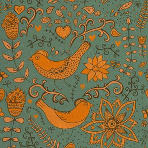 Romantic Doodle Floral Texture. Flowers. Romantic Doodle Floral Texture. Grunge Retro Backdrop With Flowers. Texture With Flowers. Grunge Floral Ornament. Leaf. Ornament. Backdrop.