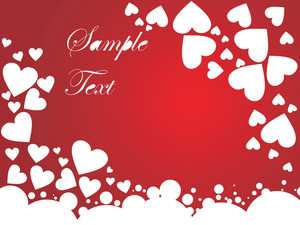 Romantic Falling Hearts On Glossy Red Background