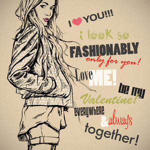Romantic Greeting Card With Fashion Girl And Text. Vector Collection.