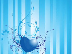 Romantic Heart With Floral Elements In Blue