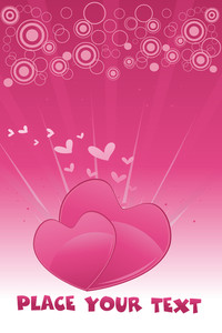 Romantic Hearts With Background