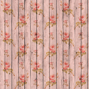 Romantic Pink Flower Pattern Wooden Boards