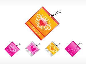 Romantic Tag With Heart Logo Set_1