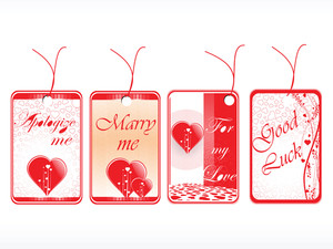 Romantic Tags With Hearts Set In Red