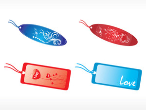 Romantic Vector Tag Set In Blue And Red