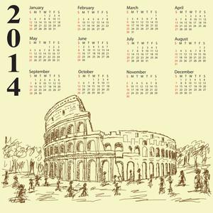 Rome Colosseum Vintage 2014 Calendar