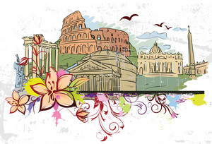 Rome Doodles With Floral Vector Illustration