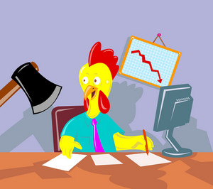 Rooster Chicken Office Worker Employee Axed