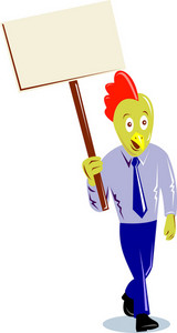 Rooster Chicken Office Worker Protesting Placard Sign