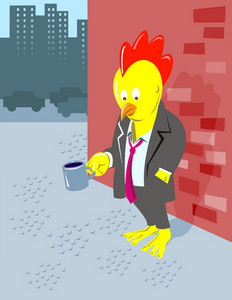 Rooster Chicken Unemployed Office Worker Begging