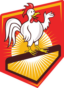 Rooster Cockerel Waving Hello Shield Cartoon