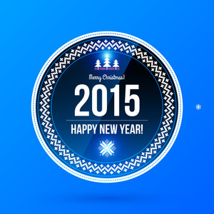 Round New Year Label On Blue Background