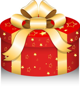 Royal Round Gift Box - Christmas Vector Illustration
