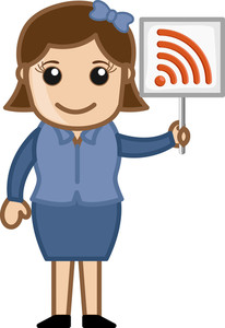 Rss Sign In A Girl's Hand - Cartoon Vector