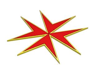 Ruby Maltese Cross Isolated On White.