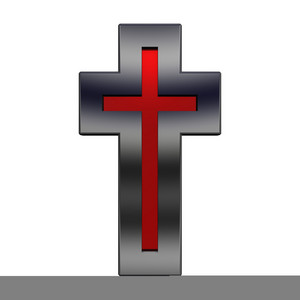 Ruby With Shiny Black Frame Christian Cross Isolated On White.