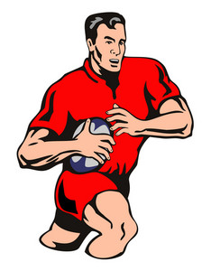 Rugby Player Attacking Red