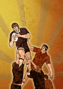 Rugby Player Catching Lineout Ball Retro