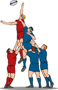Rugby Player Catching Lineout Ball