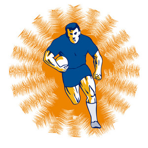 Rugby Player Charging